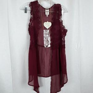 NWT Self Esteem Boho Style Vest w/ Necklace